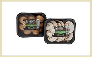 whole and sliced organic crimini mushrooms with Farmers' Fresh label